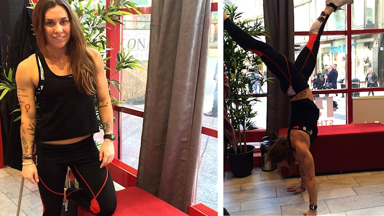 Stephanie Pizzignacco står på händer i P5 STHLM:s studio.