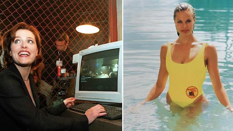 Fotomontage med bild på Gillian Anderson från tv-serien Arkiv X och Brooke Burns från Baywatch.