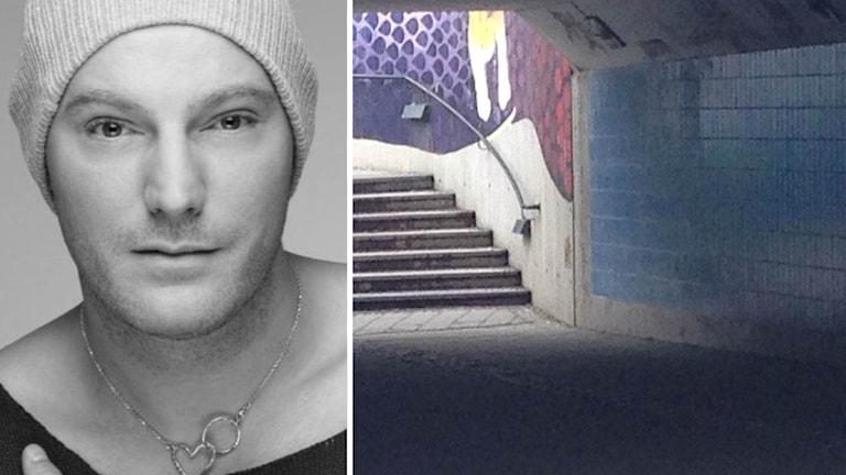 Fotomontage Micke Mårtensson och gångtunnel.