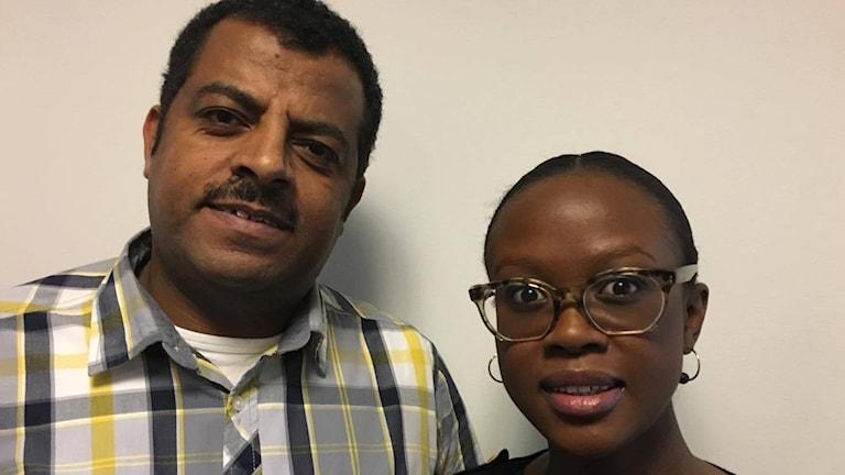 """Khaled Abdu och Christa Awuor från UNHCR driver projektet """"Telling the real story""""."""