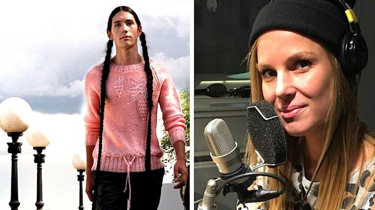 Fotomontage kille i flätor och frisören Sofia Ljusberg.