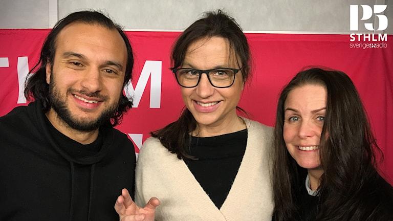 Petra Mede tillsammans med Farzad Nouri och Titti Schultz.