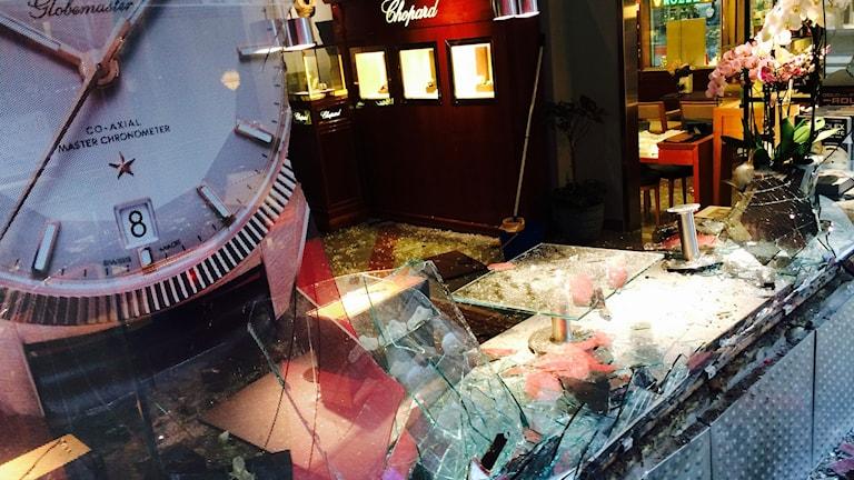 Klockbutiken ustsattes för väpnat rån. Foto: Sveriges Radio