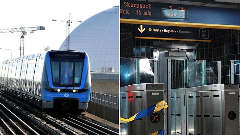 Bildmontage med en tunnelbana som kör över Skanstullsbron och spärrarna vid Gullmarsplan.