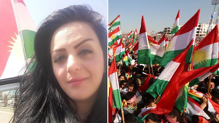 Shilan Saidi och bild från ett arrangemang i Erbil/Hewlêr där folk uppmanas rösta i valet.