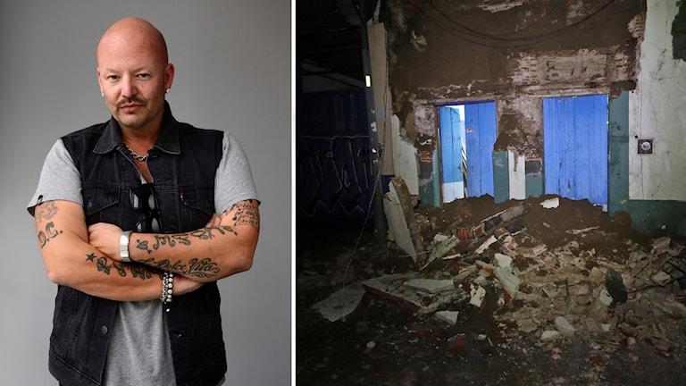 Jonas Hallberg till vänster, samt en bild på raserad husvägg i Mexiko.