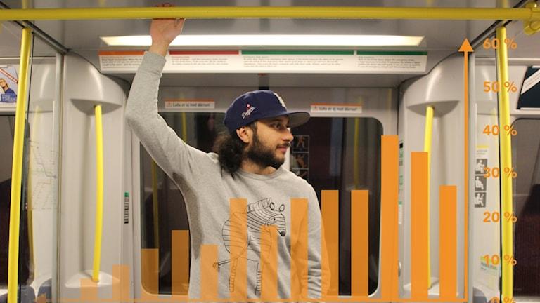 Farzad Nouri står i en tunnelbana och grafik visas framför.