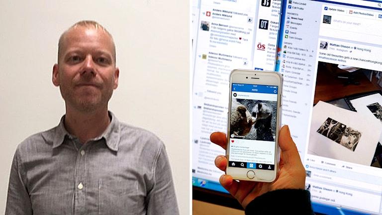 Forskaren Daniel Westman och en bild på olika sociala medier.