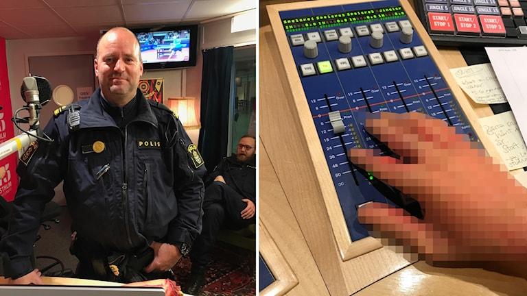 Polisen Gunnar Ricknell till vänster och den avhuggna handen till höger (pixlad).