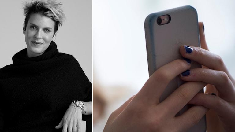 Nina Rung och mobiltelefon