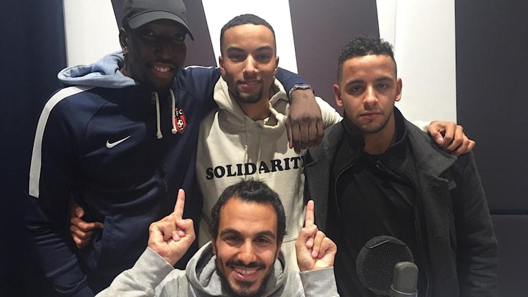 Omar Touray, Alhagi Njie och Adam Idris Nordqvist från Enskededalen FC.