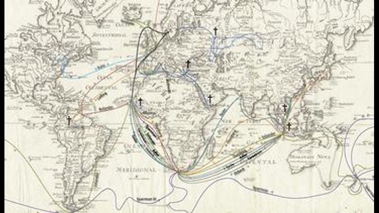 Apostlarnas resor. Bild från Naturhistoriska Riksmuséet, kartunderlag från Krigsarkivet (Utländska topografiska kartor, 1 E)