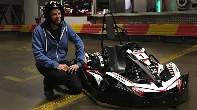 Christian Olsson testar på go-kart