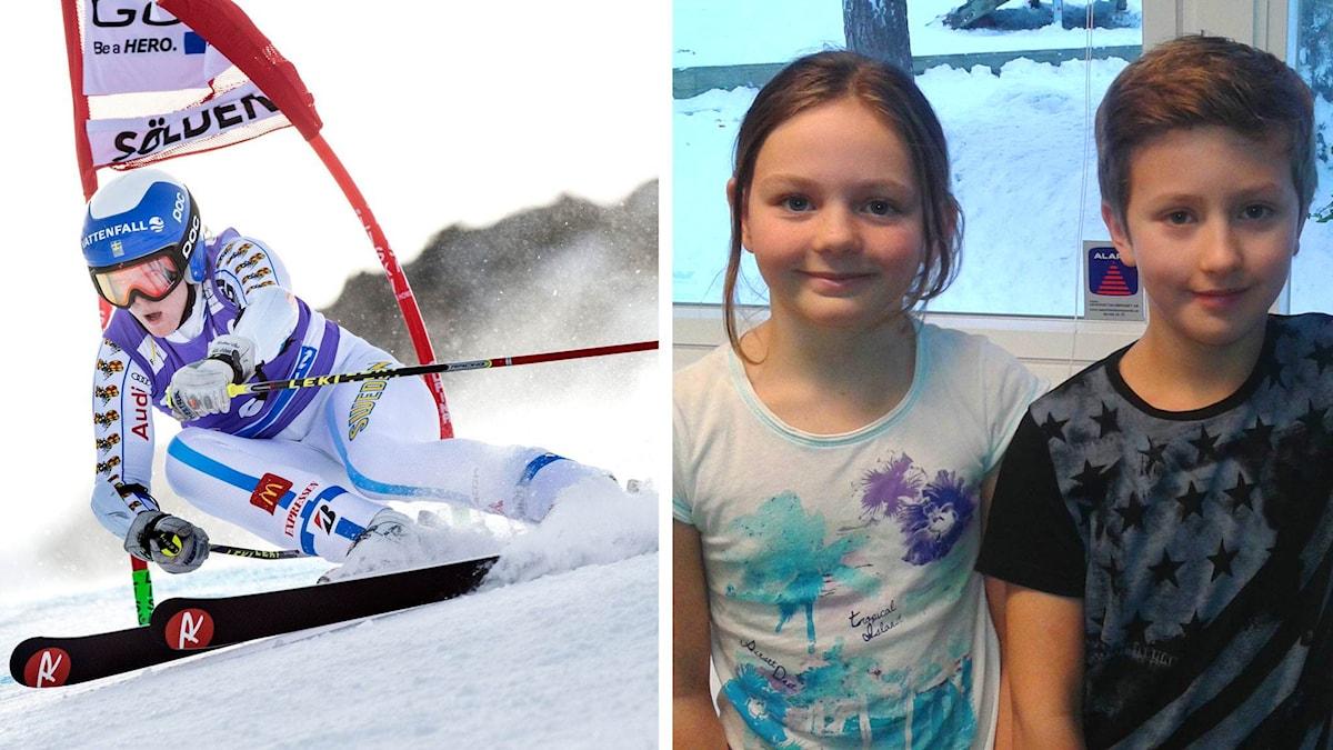Till vänster: skidsport. Till höger: Cornelia Öhlund och Adam Bohm. Foto: TT + Petra Svensson/Sveriges Radio