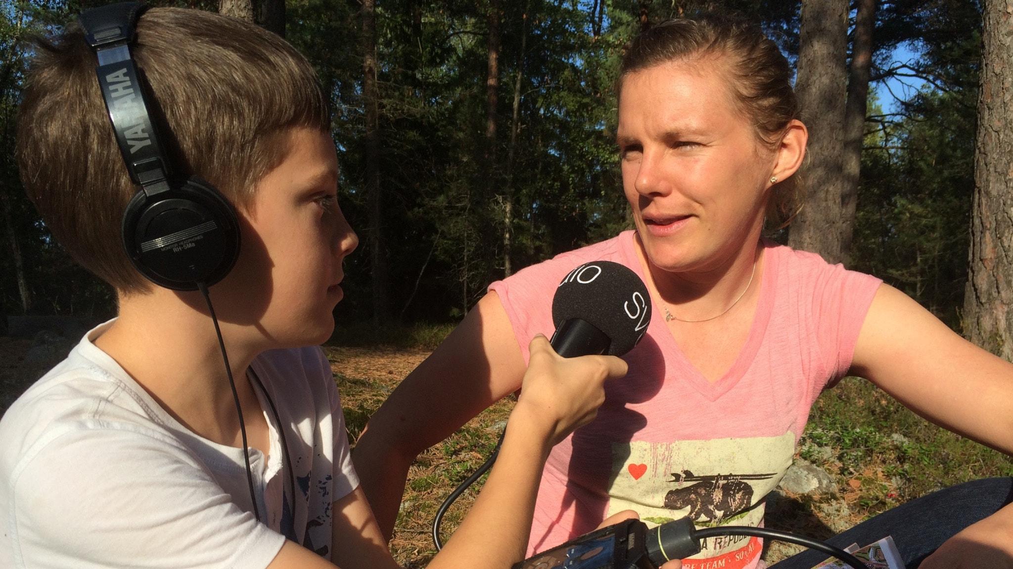 Juniorreporter Olle Sandberg och Helena Jansson.