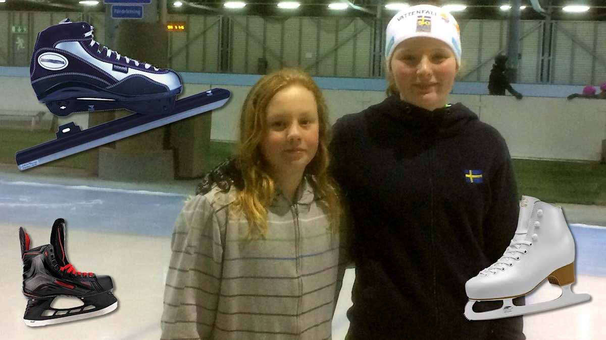 Anton och Sofia visar Juniorsporten hur man åker skridskor.