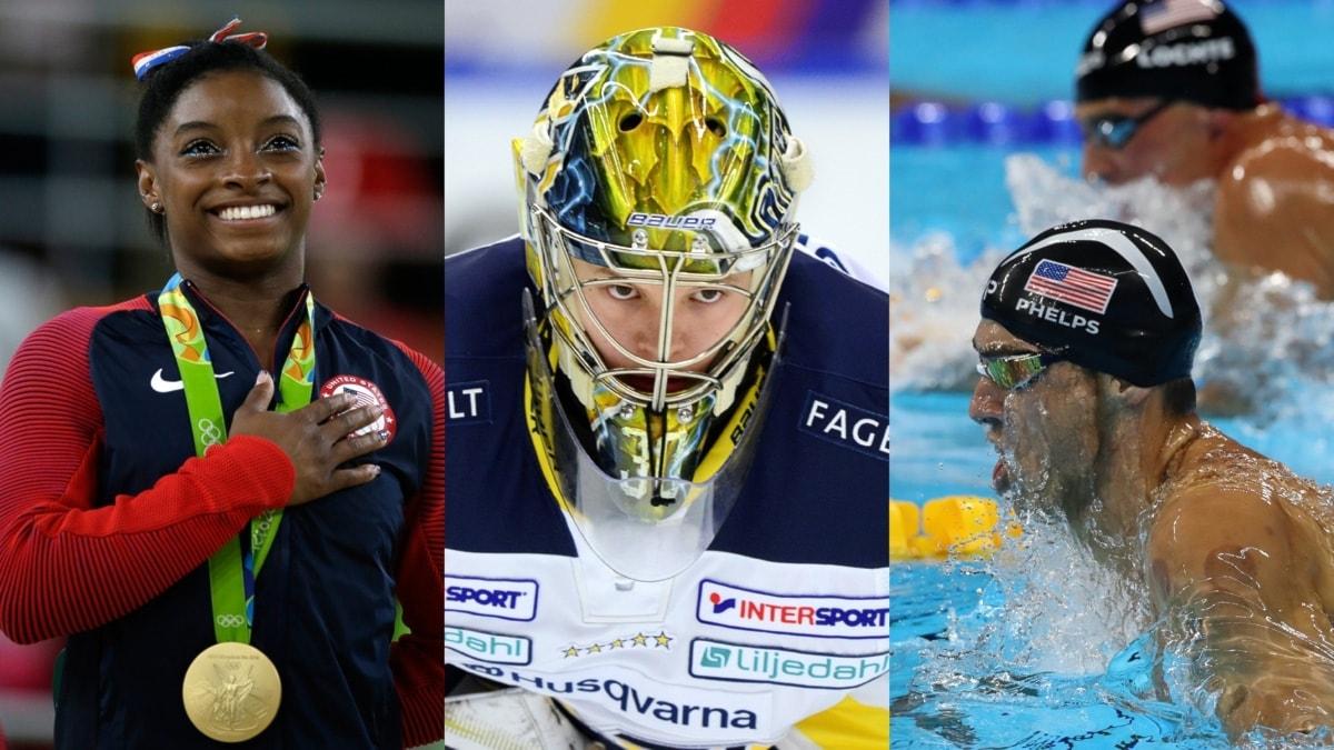 Collage adhd stjärnor Simon Biles Linus Söderström Michael Phelps. Foto: TT, collage SR