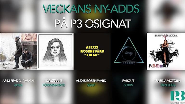 Veckans ny-adds på P3 Osignat - Topp 10.