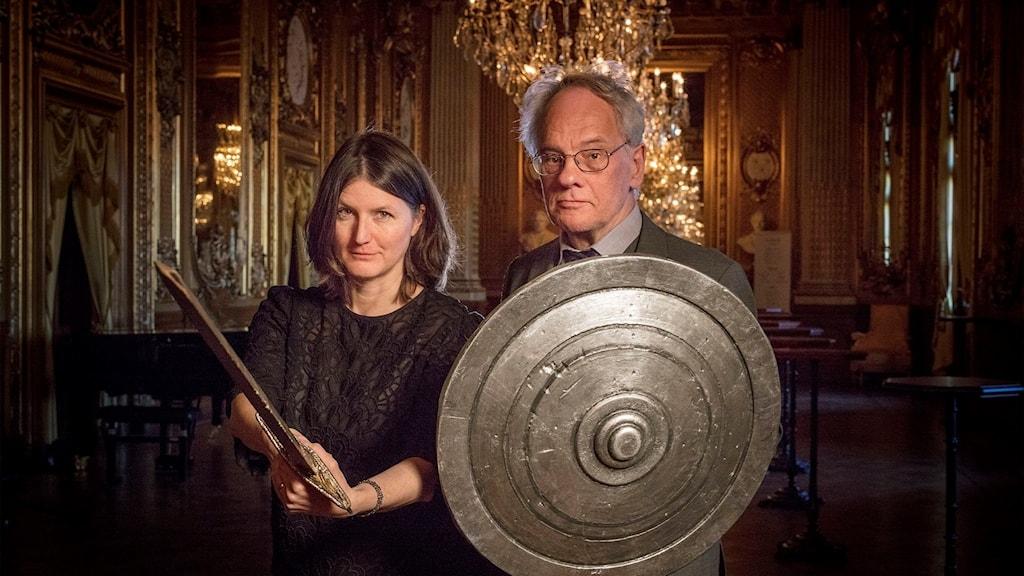 P2:s presentatörer Sara Norling och Per Lindqvist på Kungliga Operan i Stockholm.