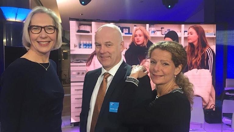 Maria Rörby Rönn, Thor Gjermund Eriksen och Cilla Benkö. Foto: Sveriges Radio