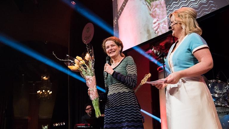Cilla Benkö Årets Chef 2017, Chefgalan samt Cissi Elwin, vd och chefredaktör på Chef. Foto: Alexander Donka/Sveriges Radio