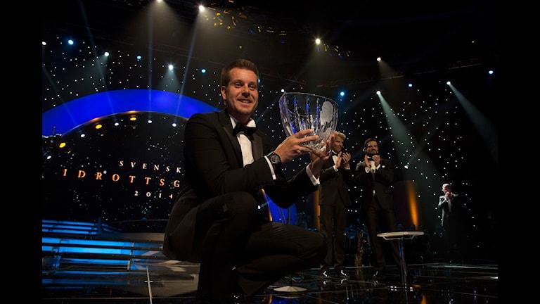 Golfproffset Henrik Stenson tar emot Jerringpriset 2013 under Svenska Idrottsgalan i Globen. Foto: Micke Grönberg/Sveriges Radio