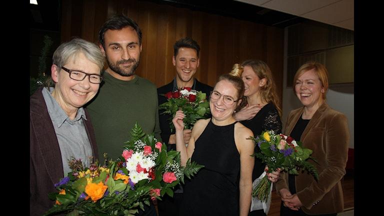 Marianne Hasslow, Johar Bendjelloul, Hannes Fossbo, Annika Lantz, Caroline Lagergren och Anna Wesslau. Foto: Anna-Karin Ivarsson/Sveriges Radio.