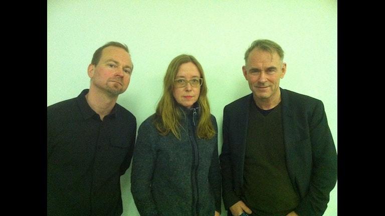 Fredrik Svenaeus, Aase Berg och Sverker Sörlin i Filosofiska rummet. Foto: Peter Sandberg/Sveriges Radio