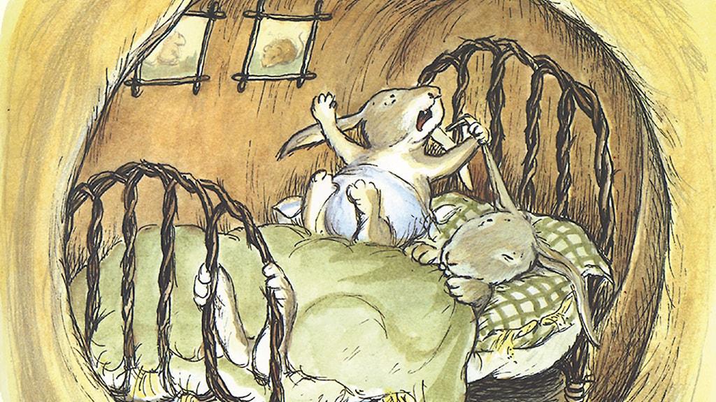 Berättelserna om Lilla syster Kanins stora äventyr i kaninvärlden! Barnradion i P4, 23 mars–27 mars. Illustration: Eva Eriksson
