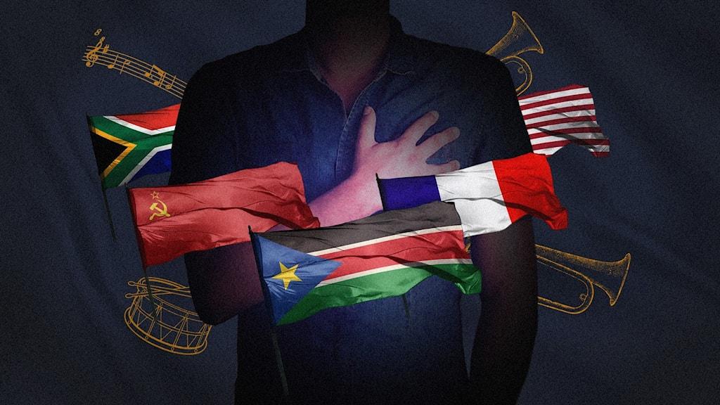olika flaggor, man som håller handen på bröstet som om han sjunger nationalsången