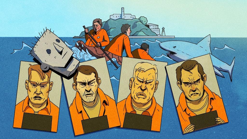 Bovar och brott. Alcatraz. Ilustration Pablo Lind.