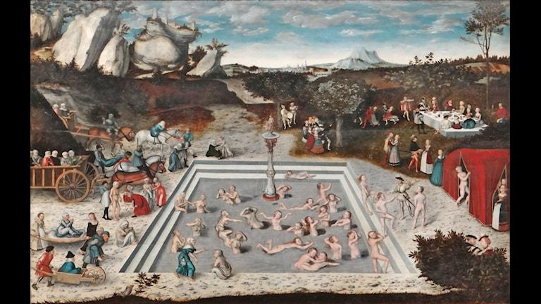 Ett uttryck för människans längtan efter odödlighet och evig ungdom: Ungdomens källa (beskuren), målning från 1546 av Lucas Cranach d ä. Bild: Jean-Pierre Dalbéra (CC)