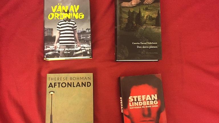 De nominerade böckerna till Sveriges Radios Romanpris 2017. Foto: Sveriges Radio