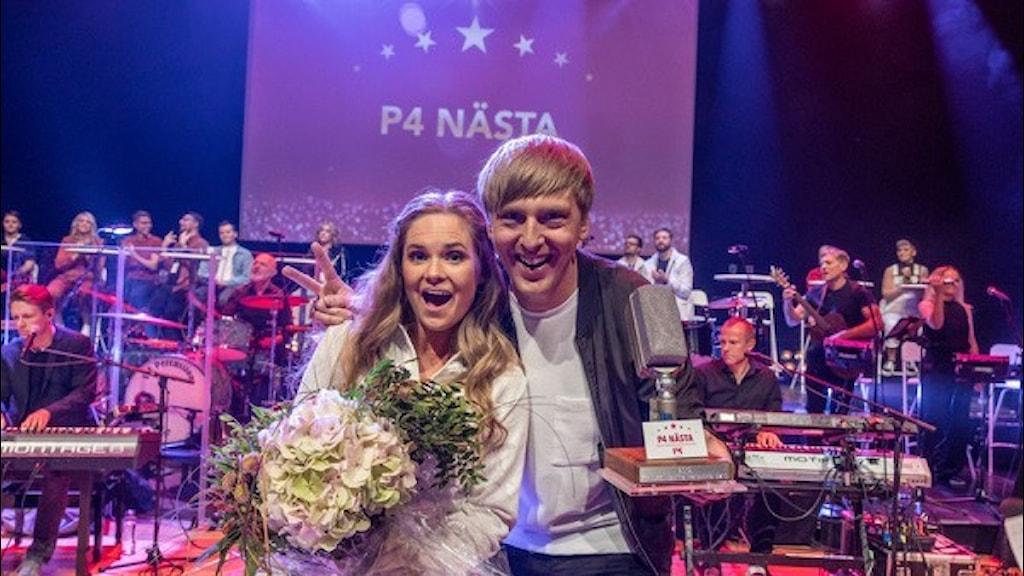 """2020 års vinnare av P4 Nästa, Hilde & Erik med låten """"Som det är"""". Paret tävlade för P4 Malmöhus och kom till riksfinalen i Västerås. Foto: Micke Grönberg/Sveriges Radio"""