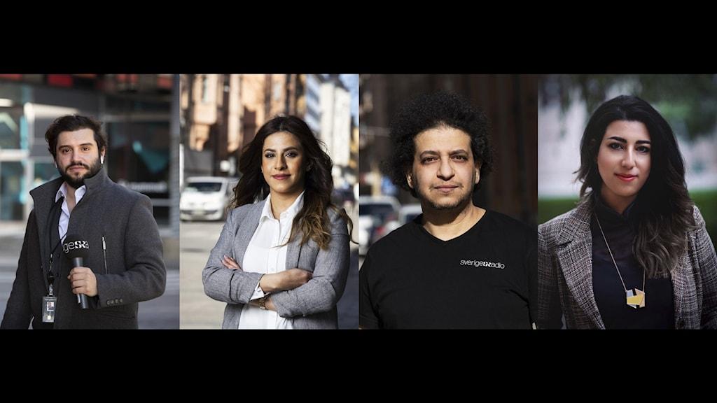 Amr Bitar (foto: Henrik Brunnsgård), Yamama Alhowari (foto: Mattias Ahlm), Abdelaziz Maaloum (foto: Mattias Ahlm), Shaima Madboly (foto: Daniel Camerini)