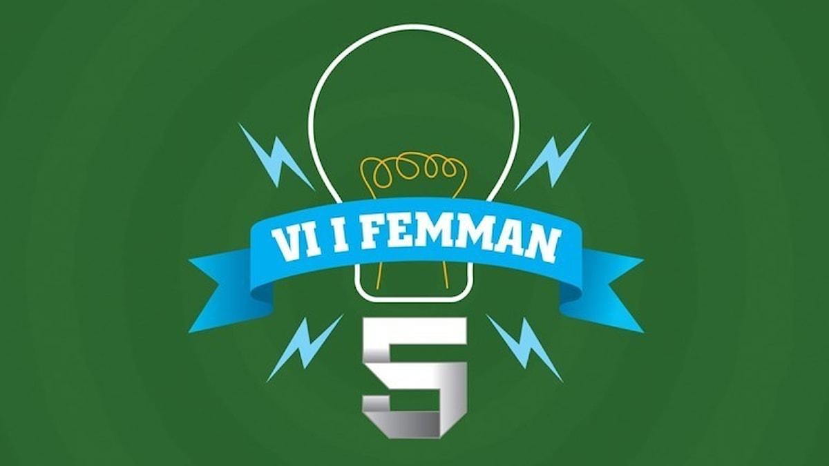 Vi i femman-logga med glödlampa på grön bakgrund