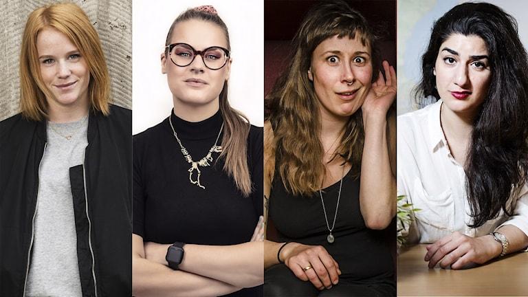 Komikerna Camilla Fågelborg, Ellinor Svensson, Elvira Lander och Dilan Apak.