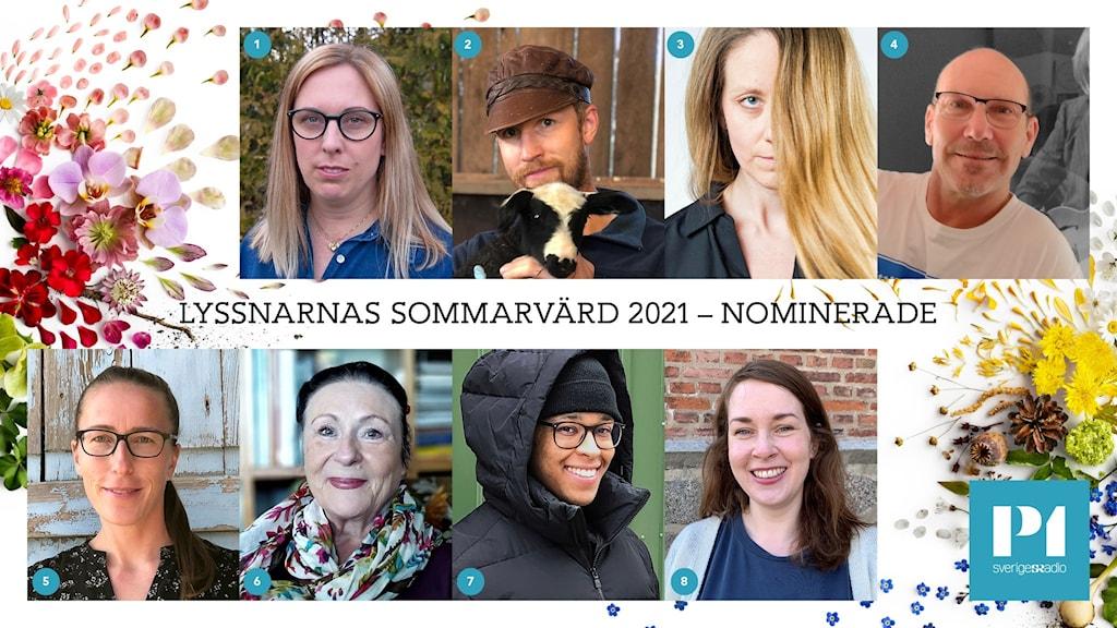 Kollage av de nominerade till Lyssnarnas Sommarvärd 2021