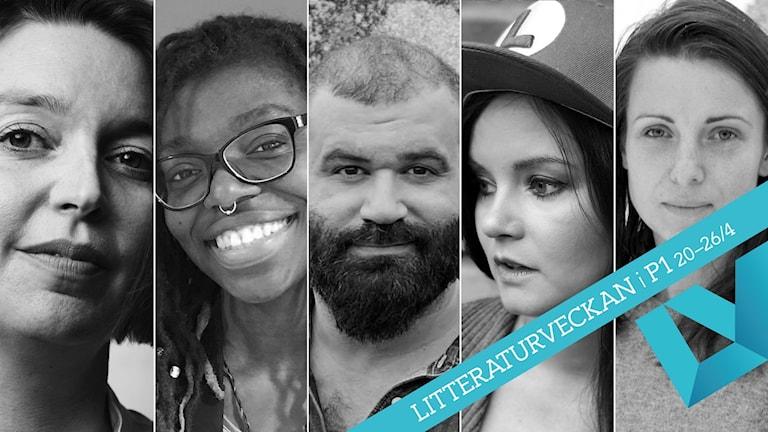 Porträtt på de fem författarna nominerade till Sveriges Radios Novellpris 2020