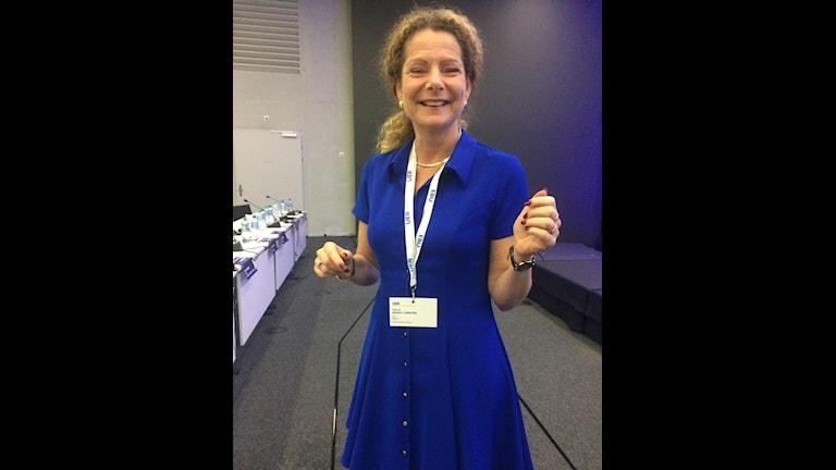 En mycket glad Cilla Benkö, vd för Sveriges Radio, precis omvald i EBU:s styrelse. Foto: Cecilia Roos/Sveriges Radio