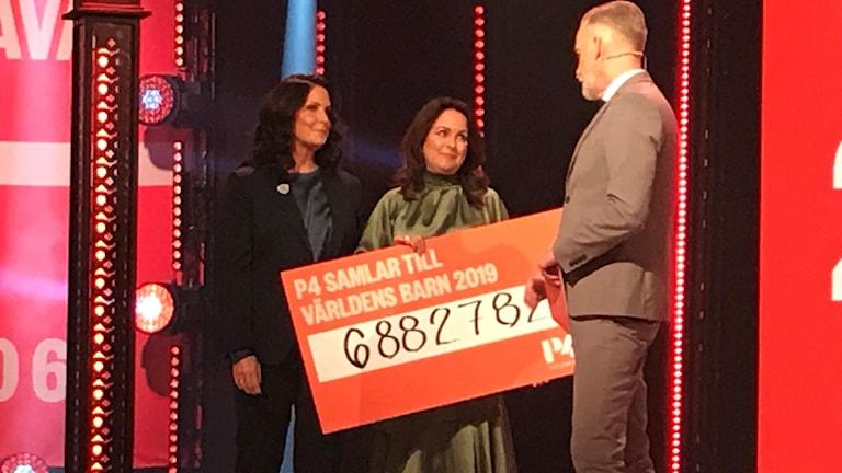 En prischeck med P4:s insamlade pengar delades ut i direktsändning på Världens Barn-galan den 4 oktober 2019 av Titti Schultz och Sarit Monastyrski på P4 Extra.