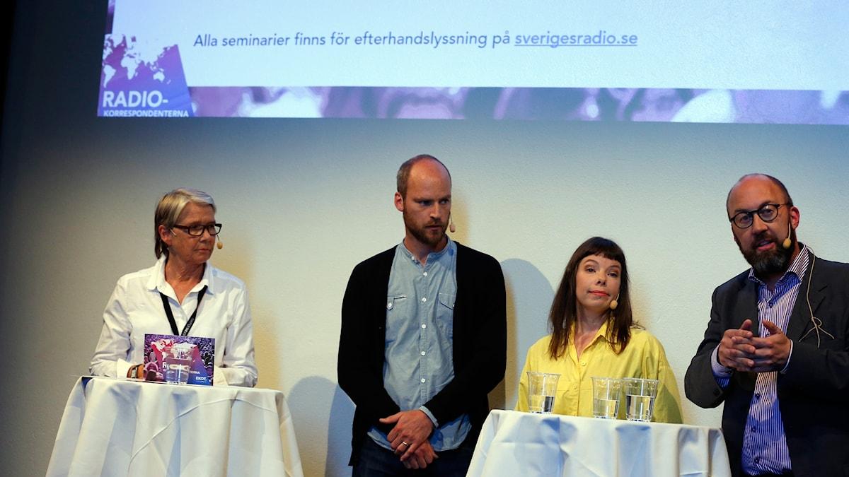 Marianne Hasslow, Samuel Larsson (Danmark), Thella Johnson (Helsingfors) och Jens Möller (Norge och Island).