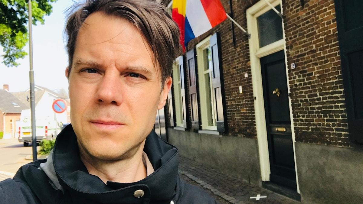 Andreas Liljeheden i staden Baarle som tillhör både Nederländerna och Belgien.