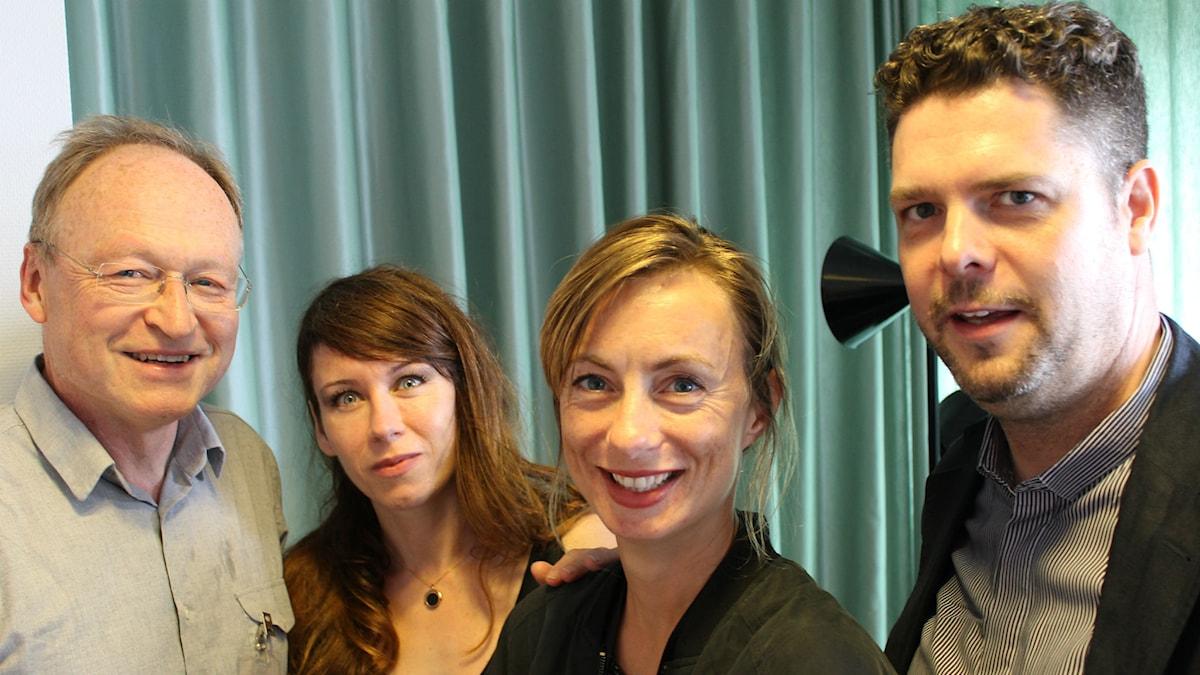 Mårten Blomkvist, Anna Odell, Lisa Bergström och Stefan Ingvarsson svarar på frågor. Foto: Maja Åström / Sveriges Radio