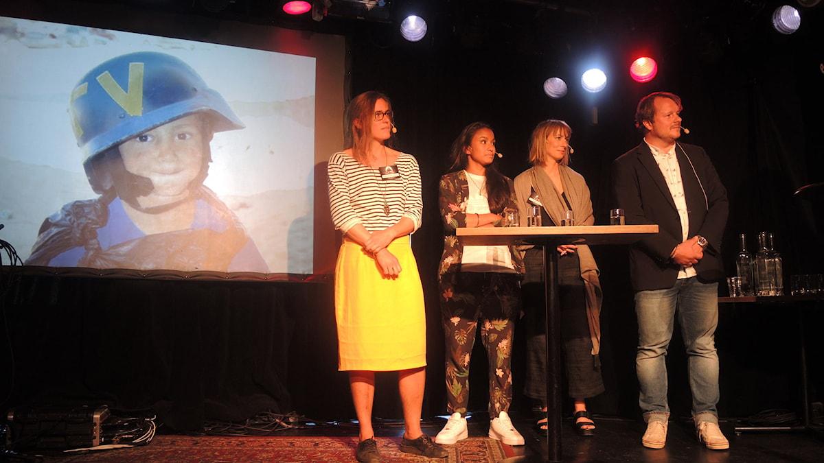 Lotten Collin, Paloma Vangpreecha, Lisa Bergström och Johan-Mathias Sommarström. Foto: Arna Sunje/Sveriges radio