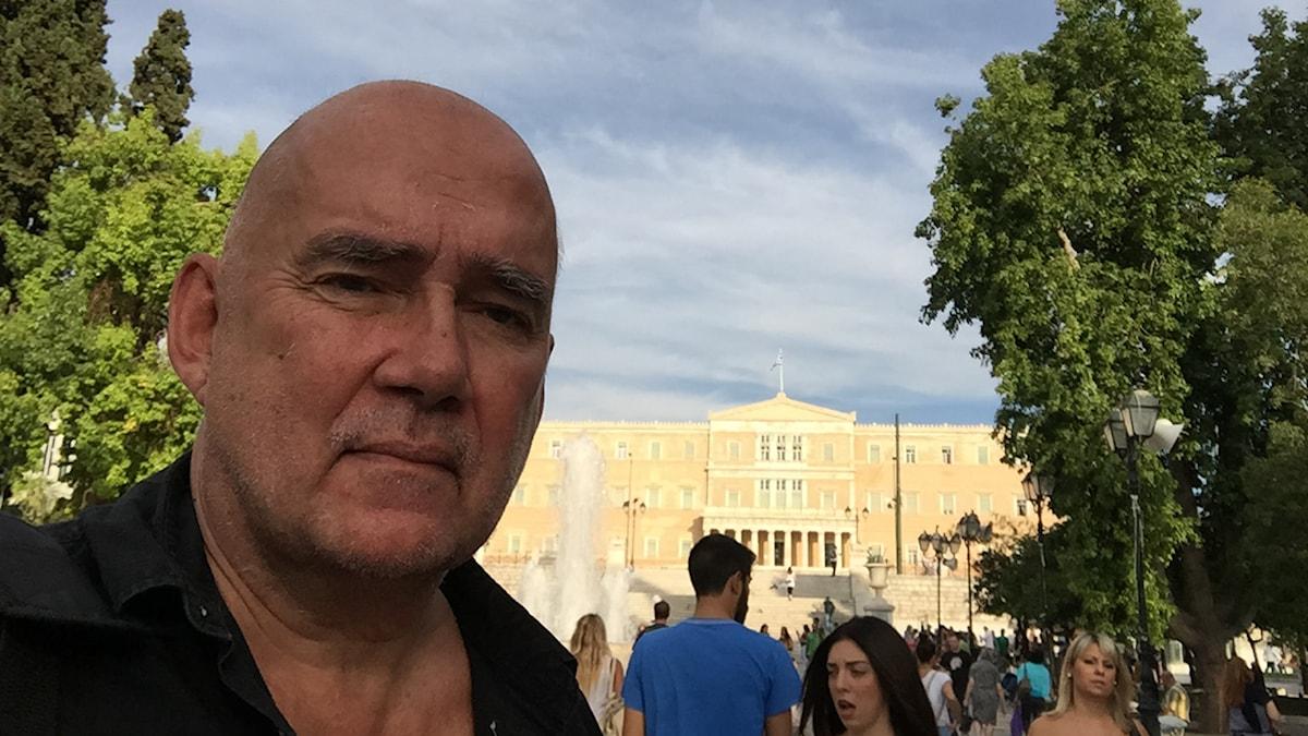 Staffan Sonning på plats i Aten. Foto: Sveriges Radio