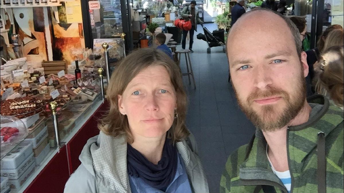 Magdalena Nordin, religionssociolog vid Lunds universitet och Samuel Larsson. Foto: Samuel Larsson/SR