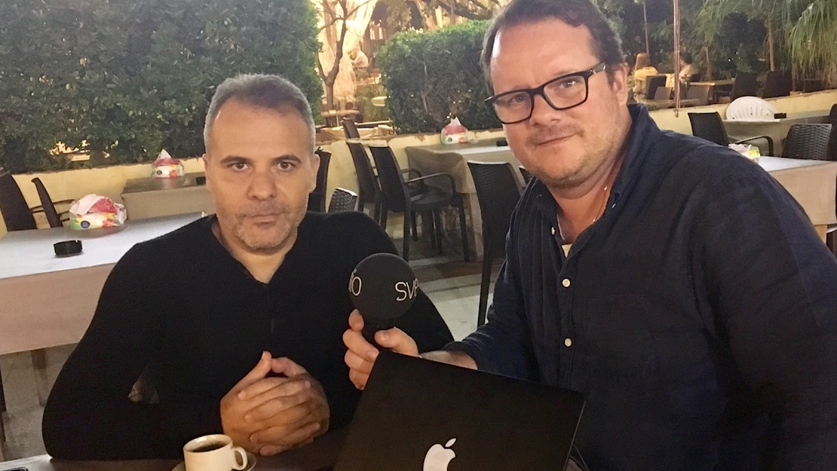Expressens korrespondent Kassem Hamadé och Johan-Mathias Sommarström i Beirut.