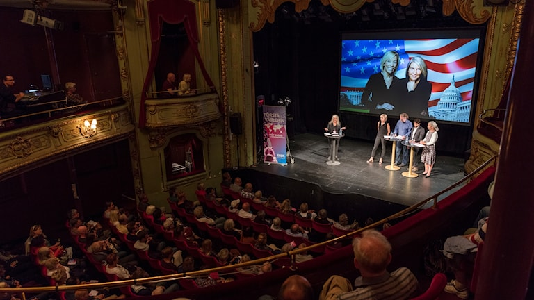 USA-podden på Radiokorrespondenternas evenemang på Södra teatern 2017.