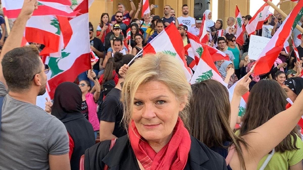 Cecilia Uddén på plats vid protesterna i Beirut, Libanon
